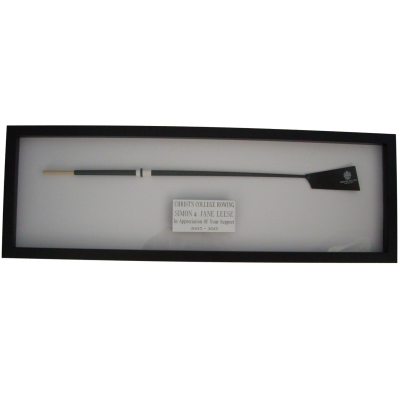 Framed Oar with  inscribed Plaque
